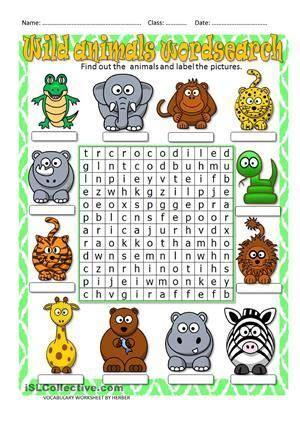 worksheet   crossword  wild animals