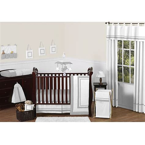 High quality and easy machine washing will make this crib sheet a must have for your room. Sweet Jojo Designs Hotel Collection Crib Bedding in White ...
