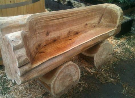 wood log bench carved cedar bench thebestwoodfurniture