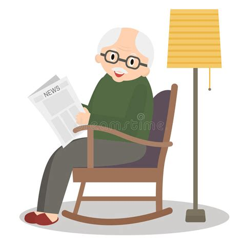 reading rocking chair pict grandfather sitting in rocking chair leisure time