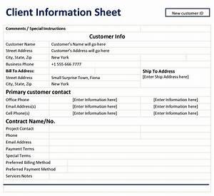 client information sheet template With client information sheet template excel