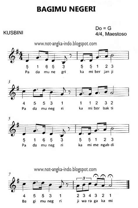 not angka lagu bagimu negeri