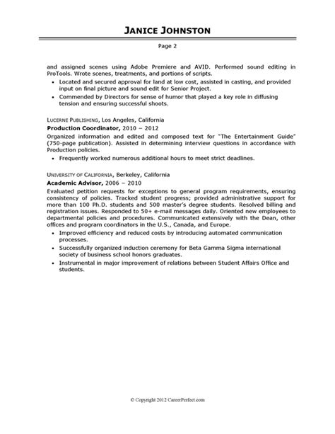 Filmmaking Resume by Producer Sle Resume Careerperfect Academic Skill Conversion And Television