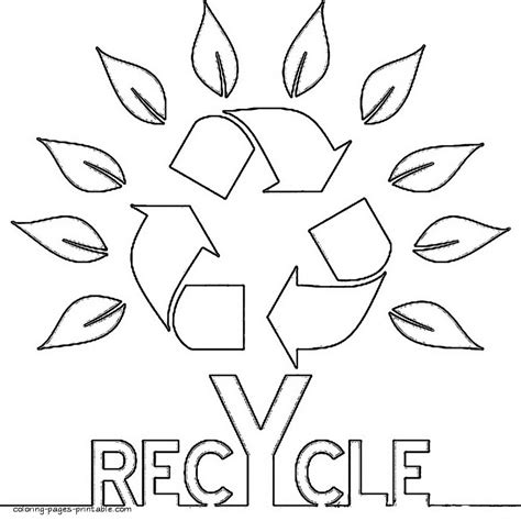 Recycling Can Coloring Page Art Clip Recycle Symbol Simple
