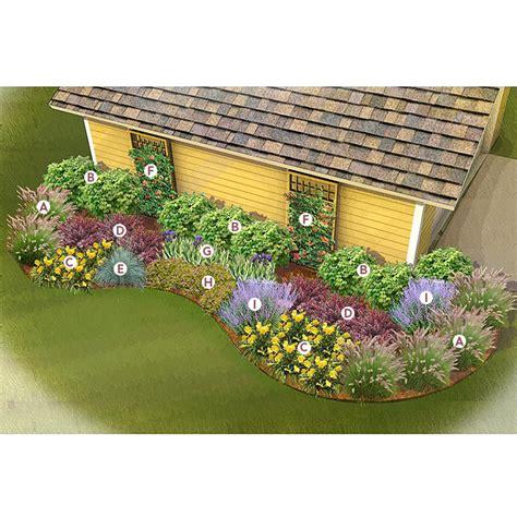 shrub and flower bed design side of garage garden 4 ways