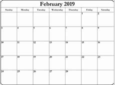 Free Printable February 2019 Calendar Template Template