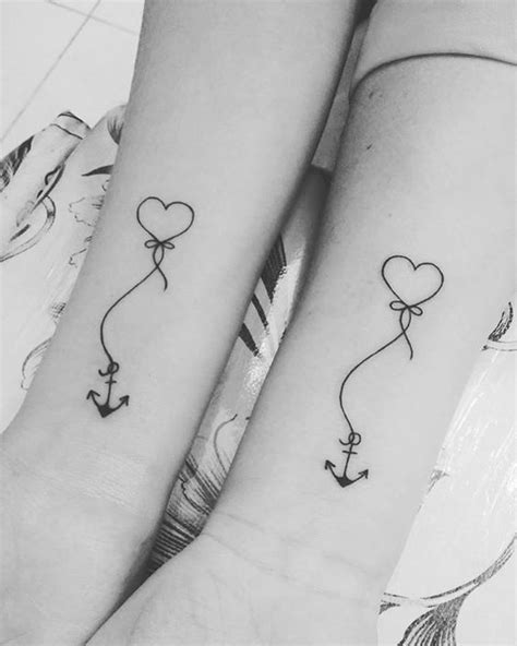 Delicate Heart Anchor Tattoos - Mother Daughter Heart