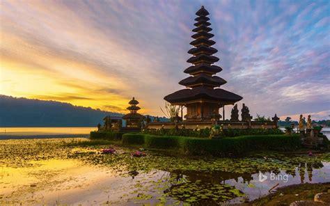 indonesia sunrise temple  bali  bing desktop