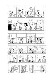 English worksheet: PEANUTS & GARFIELD BLANK COMIC STRIPS 1