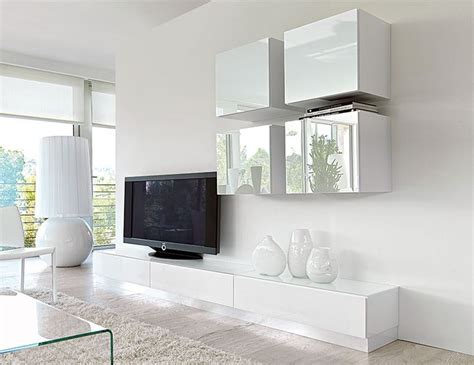tv and storage unit contemporary high gloss unico wall storage system in white