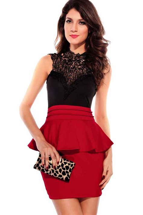 Red Lace Splicing Backless Mini Peplum Dress 006335