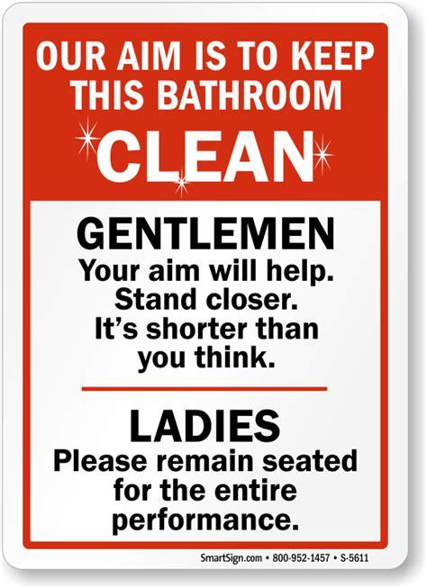 keep bathroom clean signs