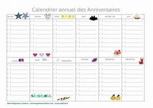 Fabriquer Un Calendrier Perpétuel : calendrier annuel des anniversaires offert en t l chargement gratuit sur le blog marie ~ Melissatoandfro.com Idées de Décoration