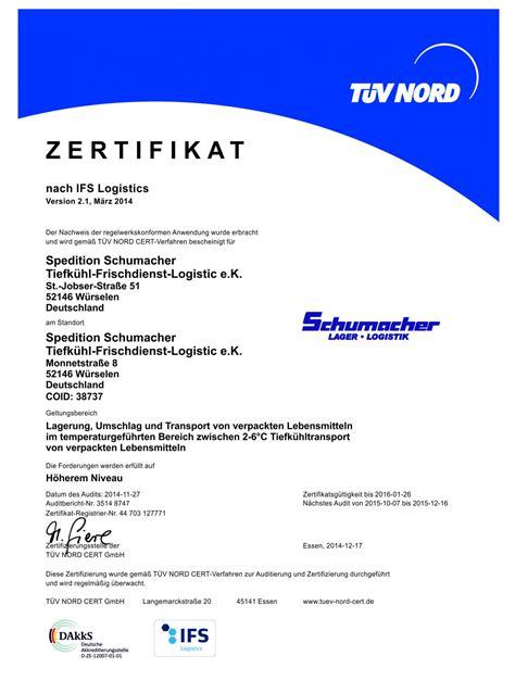 zertifikate schumacher lager logistik