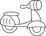Scooter Coloring Clip Pages Clipart Drawing Mini Line Electric Bicycle Pro Sweetclipart Razor Sketch Bike Graphics Template sketch template