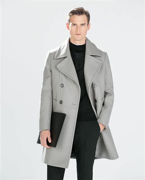 light grey long coat zara light grey coat in gray for men lyst