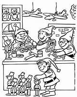 Coloring Pages Christmas Workshop Toy Santa Elves Printable Drawing Colouring Santas Toys Elf Printables Getdrawings Merry Jays sketch template