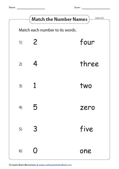 kindergarten number names worksheets 1 to 20