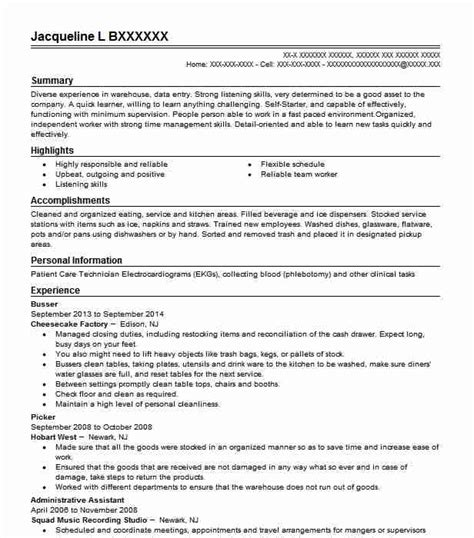 Busser Resume by Beautiful Busser Resume Of Busser Description For