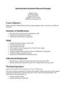 business administration resume no experience administrative assistant objective statement exles template design