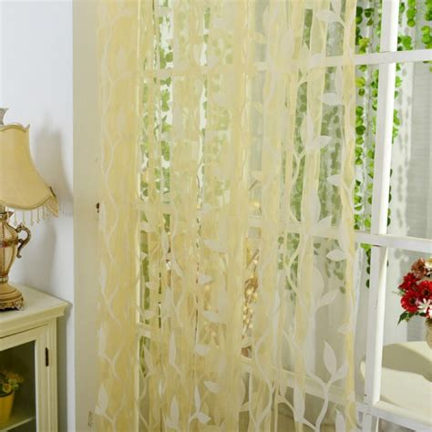 leaf pattern voile window curtain sheer voile room panel