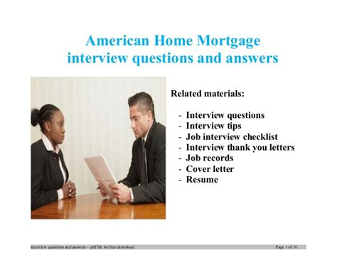 American Home Mortgage interview questions and answers