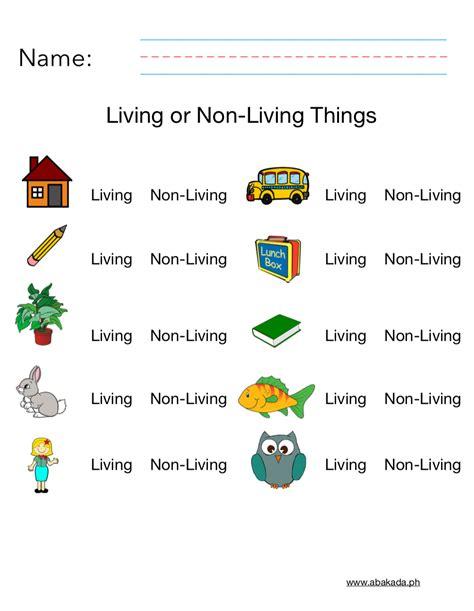 living   living worksheet science printable