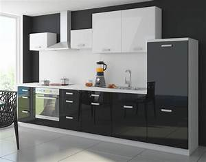 Küche Schwarz Hochglanz : k che color 340cm k chenzeile k chenblock einbauk che in ~ Michelbontemps.com Haus und Dekorationen