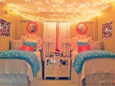 Dorm Room-hanging String Lights Across Ceiling, Pink And