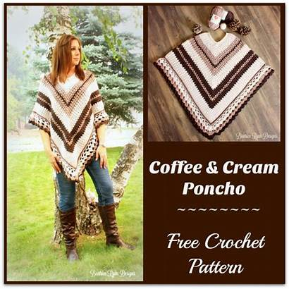 Crochet Poncho Pattern Cream Coffee Patterns Bumpy