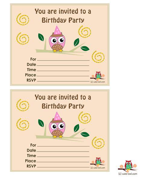 printable owl birthday party invitations