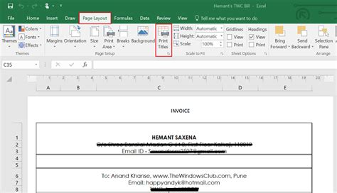 How To Select Row Or Column As Print Title Of Microsoft