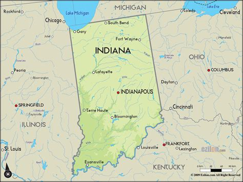 geographical map  indiana  indiana geographical maps