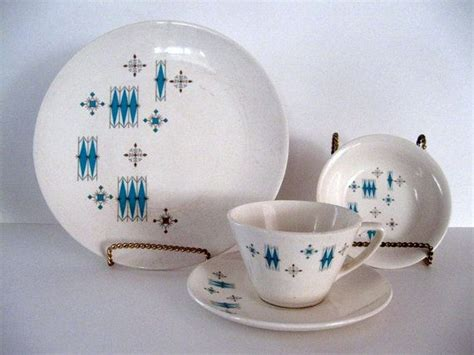 mid century atomic dinnerware set  pieces turquiose