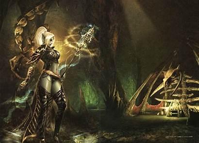 Elf Lineage Dark Background Wallpapers Backgrounds Sorceress