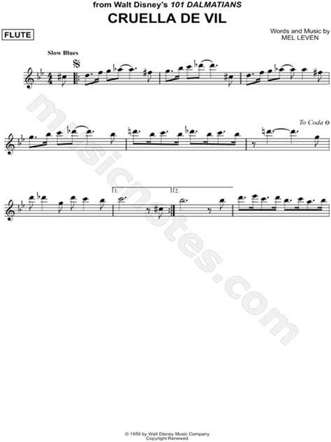 cruella de vil   dalmatians sheet  flute