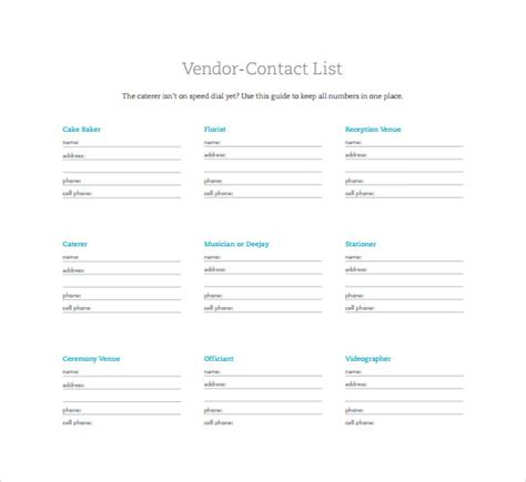 contact list templates  word sample templates