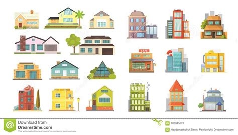Set Of Different Styles Residential Houses City