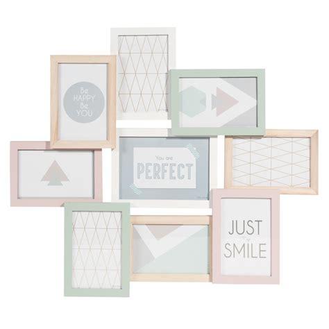 cadre photo 9 vues en bois pastel 50 x 57 cm graphic maisons du monde
