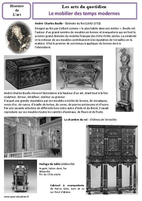 mobilier des temps modernes cm1 cm2 arts du quotidien histoire des arts cycle 3 pass