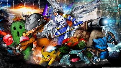 Pokemon Digimon Mash 4k Wallpapers Desktop Background