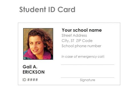 Id Card Template by Student Identification Card Template Free
