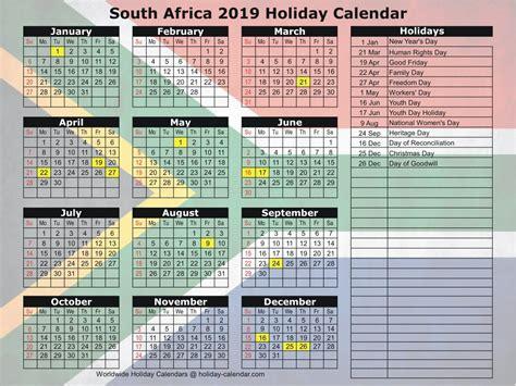 south africa holiday calendar