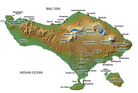 bali map   important towns  places