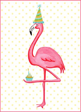 pink flamingo  cupcake birthday card carte de fete de