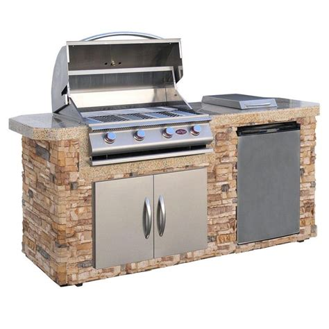 cal flame outdoor kitchen stainless cal flame 7 ft stone grill island with 4 burner stainless