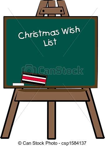 Vectors Illustration Of Christmas Wish List Written On Chalkboard Easel Csp1584137 Search