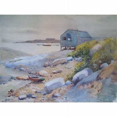Watercolor Painting Seascape Maine Ogunquit Coastal Antique