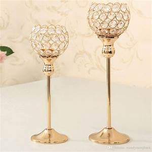 Gold crystal candle holders set of wedding centerpiece for Kitchen cabinet trends 2018 combined with candle holders crystal