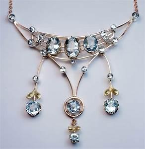 Antique Edwardian Era Aquamarine Gold Pendant Necklace ...